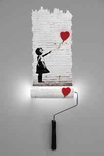 Paint Roller Banksy Girl & Heart Texture LR